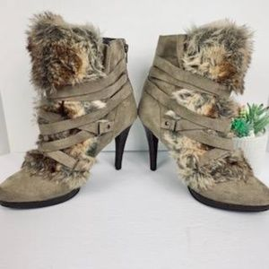 Elle Faux Suede and Fur Taupe Ankle Boots